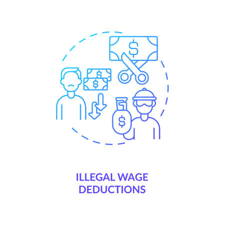 Illegal wage deductions blue gradient concept icon. Underpaid laborer. Unfair employment conditions. Migrant worker rights idea thin line illustration. Vector isolated outline RGB color drawing 向量圖像