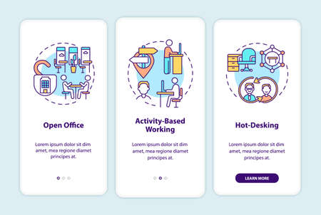 Future office environments onboarding mobile app page screen with concepts. Open workspace walkthrough 3 steps graphic instructions. UI, UX, GUI vector template with linear color illustrations