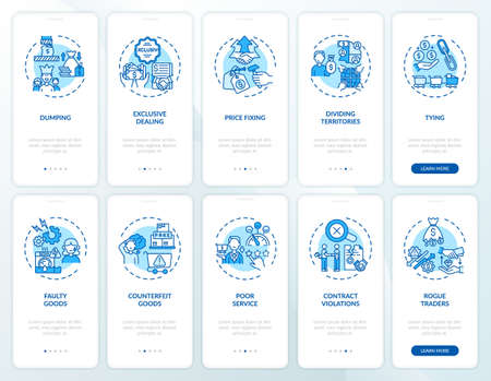 Entrepreneurial practices onboarding mobile app page screen with concepts set. Consumer safeguard walkthrough 5 steps graphic instructions. UI, UX, GUI vector template with linear color illustrations Ilustracje wektorowe