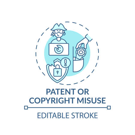 Patent and copyright misuse concept icon. Anti-competitive practice idea thin line illustration. Market advantage. Copyright infringement. Vector isolated outline RGB color drawing. Editable stroke