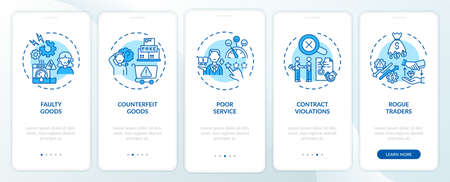 Consumer claims onboarding mobile app page screen with concepts. Faulty, counterfeit goods walkthrough 5 steps graphic instructions. UI, UX, GUI vector template with linear color illustrations