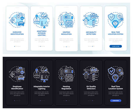 Smart worksite onboarding mobile app page screen with concepts. ID, adaptability walkthrough 5 steps graphic instructions. UI, UX, GUI vector template with linear night and day mode illustrations