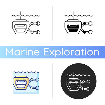 ROV icon. Remotely operated underwater vehicle is tethered underwater highly maneuverable mobile device. Linear black and RGB color styles. Isolated vector illustrations