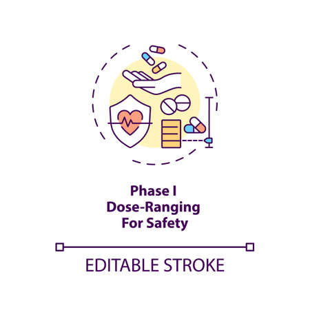 Dose-ranging for safety concept icon. Clinical trials phase 1 idea thin line illustration. Placebo and dose groups. First-in-person trial. Vector isolated outline RGB color drawing. Editable stroke Vettoriali