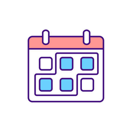 Period marked on calender RGB color icon. Short term period. Month planned for project work. Check business meetings on agenda schedule. Isolated vector illustration