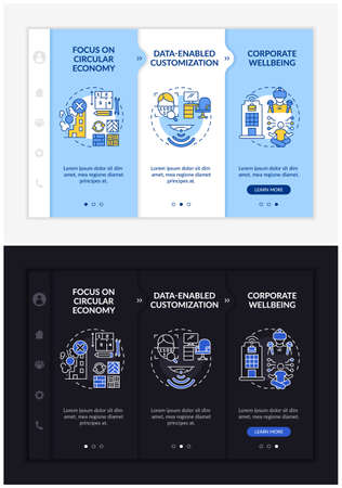 Future worksite design onboarding vector template. Responsive mobile website with icons. Web page walkthrough 3 step screens. Corporate wellness night and day mode concept with linear illustrations Vektorgrafik