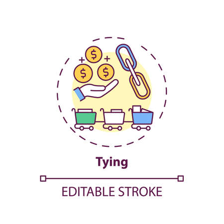 Tying concept icon. Mandatory addition idea thin line illustration. Product bundling. Purchasing unnecessary product from separate market. Vector isolated outline RGB color drawing. Editable stroke