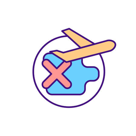 Travel ban RGB color icon. Restriction in moving abroad. International flights prohibited. No emigration. Threat of expulsion for migrant workers. Isolated vector illustration