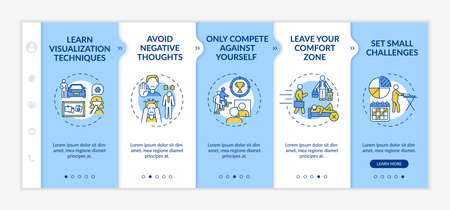 Self-improvement strategies onboarding vector template. Responsive mobile website with icons. Web page walkthrough 5 step screens. Skills development color concept with linear illustrations Ilustración de vector