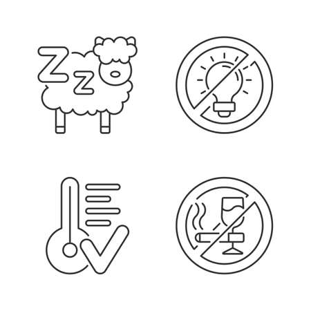 Sleep hygiene linear icons set. Counting sheeps before bedtime. No brightness. Comfortable temperature. Customizable thin line contour symbols. Isolated vector outline illustrations. Editable stroke