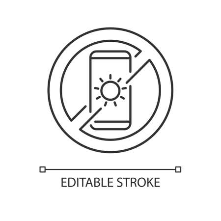 No devices linear icon. Digital detox. Avoid bright mobile screen before bedtime. Thin line customizable illustration. Contour symbol. Vector isolated outline drawing. Editable stroke