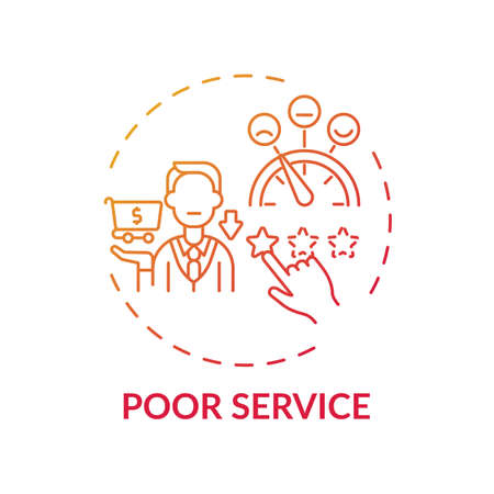 Poor service concept icon. Consumer claim idea thin line illustration. False promises. Bad level, standard service. Rude treatment with clients. Vector isolated outline RGB color drawing