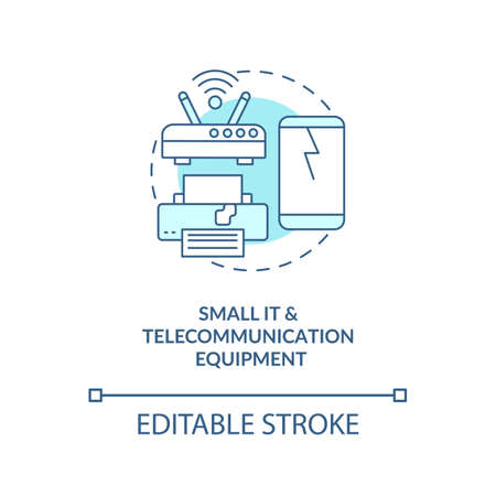 Small IT and telecommunication equipment concept icon. E-waste category idea thin line illustration. Copying equipment and fax machines. Vector isolated outline RGB color drawing. Editable stroke
