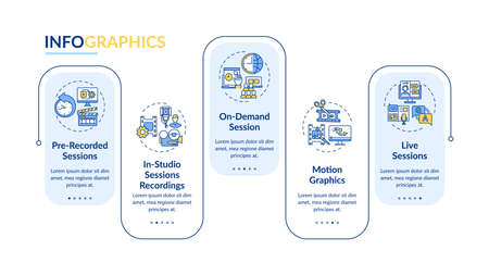 VE content vector infographic template. Recorded, on-demand sessions presentation design elements. Data visualization with 5 steps. Process timeline chart. Workflow layout with linear icons Vetores