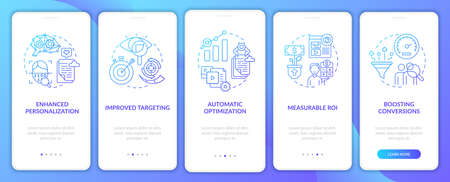 Smart content benefits navy onboarding mobile app page screen with concepts. Online business walkthrough 5 steps graphic instructions. UI, UX, GUI vector template with linear color illustrations