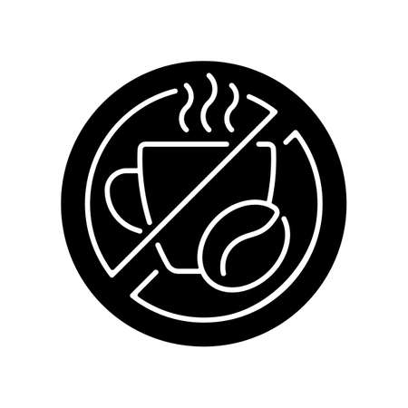 No caffeine black glyph icon. Limit coffee intake. Dietary drink. Avoid unhealthy product. Cause of sleeplessness. Improve sleep hygiene. Silhouette symbol on white space. Vector isolated illustration