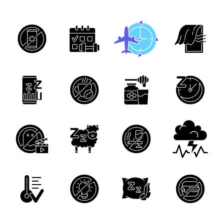 Insomnia causes black glyph icons set on white space. Reasons for bad sleep. Avoid sleeplessness. No caffeine. Healthy diet. Regular exercise. Silhouette symbols. Vector isolated illustration