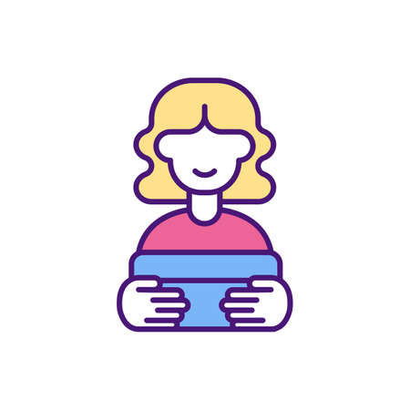 Customer satisfaction RGB color icon. Pleased client with provided product. Meeting consumer expectations. Retaining satisfied customers. Increasing loyalty and revenue. Isolated vector illustration