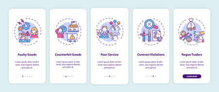 Consumer rights violation claims onboarding mobile app page screen with concepts. Poor service walkthrough 5 steps graphic instructions. UI, UX, GUI vector template with linear color illustrations