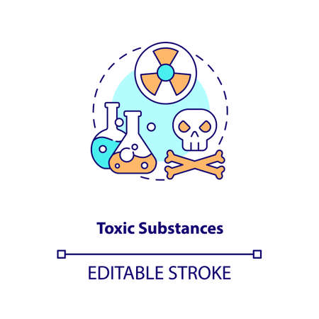 Toxic substances concept icon. E-waste component idea thin line illustration. Recycling toxic chemicals. Hazardous wastes management. Vector isolated outline RGB color drawing. Editable stroke