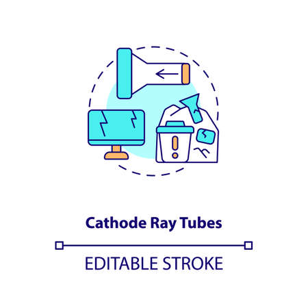 Cathode ray tubes concept icon. E-waste component idea thin line illustration. CRT glass recycling. Glass video display element. Vector isolated outline RGB color drawing. Editable stroke