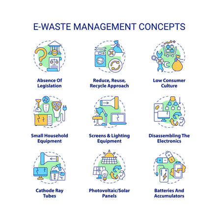 E-waste management concept icons set. Consumer culture idea thin line RGB color illustrations. Reduce, reuse, recycle approach. Household equipment. Vector isolated outline drawings. Editable stroke