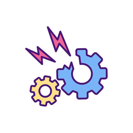 Faulty equipment RGB color icon. Malfunctioning items. Damaged mechanical, electronic products. Producing, manufacturing goods. Serious and painful injuries risk. Isolated vector illustration