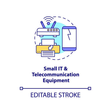 Small IT and telecommunication equipment concept icon. E-waste category idea thin line illustration. Mobile telephones, routers, laptops. Vector isolated outline RGB color drawing. Editable stroke Vektorové ilustrace