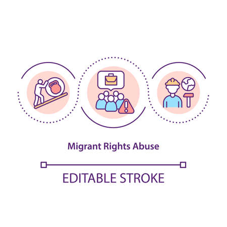 Migrant rights abuse concept icon. Foreigner unfair treatment. Immigrant workers discrimination idea thin line illustration. Vector isolated outline RGB color drawing. Editable stroke