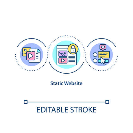 Static website concept icon. Hard coded sites which display exactly same information to all viewers at all times idea thin line illustration. Vector isolated outline RGB color drawing. Editable stroke