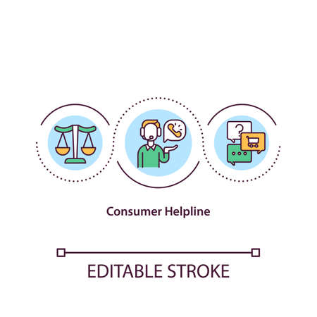 Consumer helpline concept icon. Client help desk. Arguent about product or service provided. Business idea thin line illustration. Vector isolated outline RGB color drawing. Editable stroke