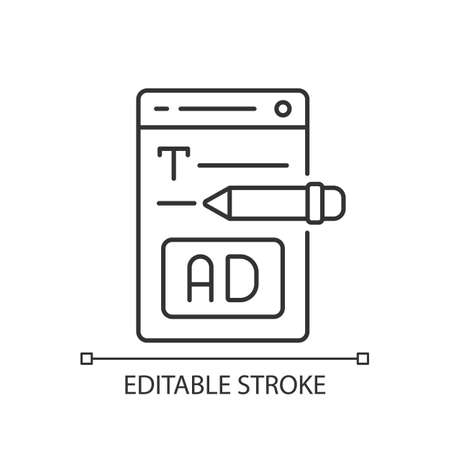 Writing text ads linear icon. Copywriting services for e commerce. Engaging content for marketing. Thin line customizable illustration. Contour symbol. Vector isolated outline drawing. Editable stroke