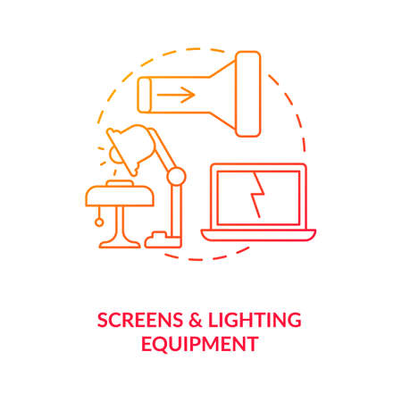 Screens and lighting equipment concept icon. E-waste category idea thin line illustration. Televisions, monitors. Laptops, notebooks. Throwing electronics. Vector isolated outline RGB color drawing