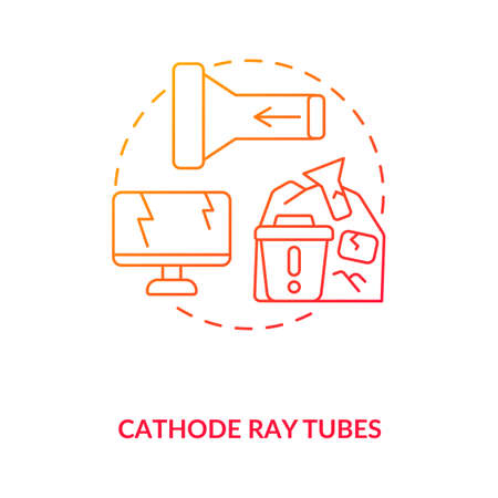 Cathode ray tubes concept icon. E-waste component idea thin line illustration. CRT glass recycling. Hazardous waste. Electrical and electronic equipment. Vector isolated outline RGB color drawing