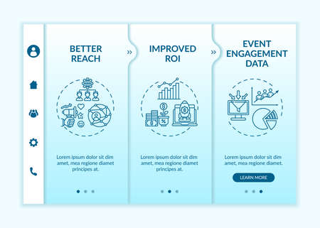 Hybrid session benefits onboarding vector template. Responsive mobile website with icons. Web page walkthrough 3 step screens. Audience reaching, improved ROI color concept with linear illustrations Vector Illustration