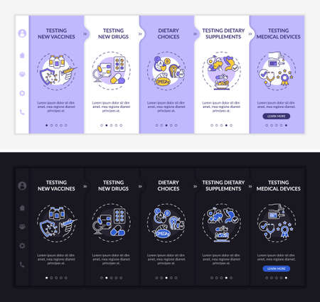 Research kinds onboarding vector template. Responsive mobile website with icons. Web page walkthrough 5 step screens. Medical devices, vaccines night and day mode concept with linear illustrations