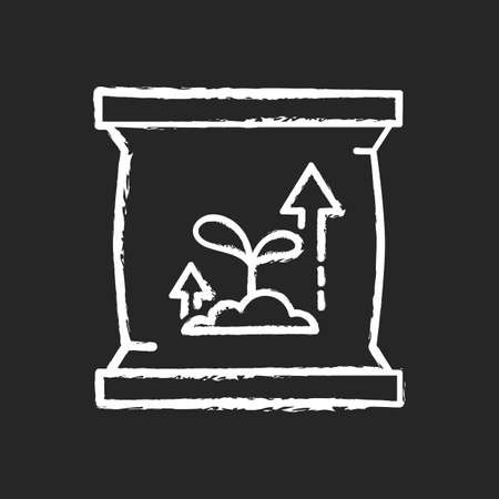 Fertilizers chalk white icon on black background. Natural or synthetic origin that is applied to soil or to plant tissues to supply plant nutrients. Isolated vector chalkboard illustration
