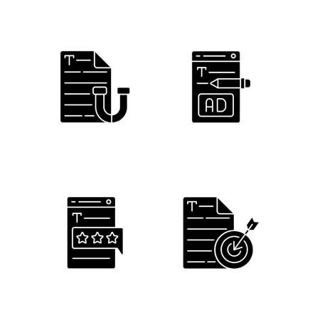 Engaging online content black glyph icons set on white space. Writing ads for online marketing. Aiming at target audience. SEO work, journalism. Silhouette symbols. Vector isolated illustration