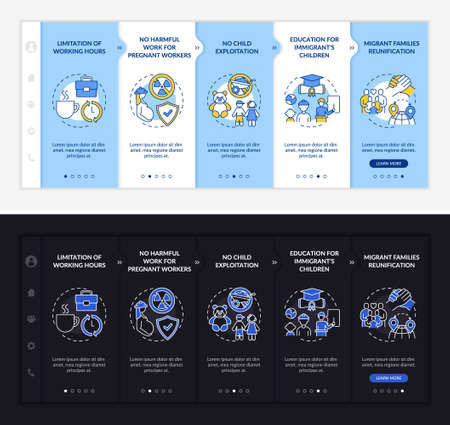 Immigrant workers rights onboarding vector template. Responsive mobile website with icons. Web page walkthrough 5 step screens. Migrant support light and dark concept with linear illustrations