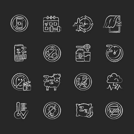 Insomnia causes chalk white icons set on black background. Reasons for bad sleep. Avoid sleeplessness. No caffeine, fast food. Healthy diet. Regular exercise. Isolated vector chalkboard illustrations