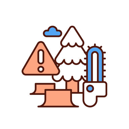 Deforestation RGB color icon. Clearcutting. Permanent trees removal. Forest destruction and degradation. Vegetation loss. Agriculture, logging and road construction. Isolated vector illustration