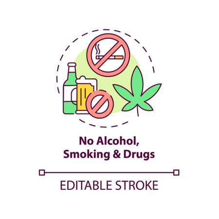 No alcohol, smoking and drugs concept icon. Liver health requirement idea thin line illustration. Cleansing liver from toxic consumption. Vector isolated outline RGB color drawing. Editable stroke