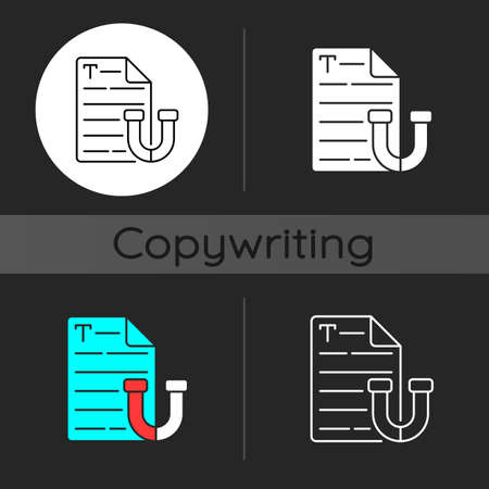 Appealing text dark theme icon. Brief letter. Online email. Engaging content for social media. Copywriting services. Linear white, simple glyph and RGB color styles. Isolated vector illustrations Vetores