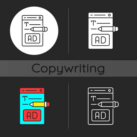Writing text ads dark theme icon. Copywriting services for e commerce. Engaging content for online marketing. SEO work. Linear white, simple glyph and RGB color styles. Isolated vector illustrations