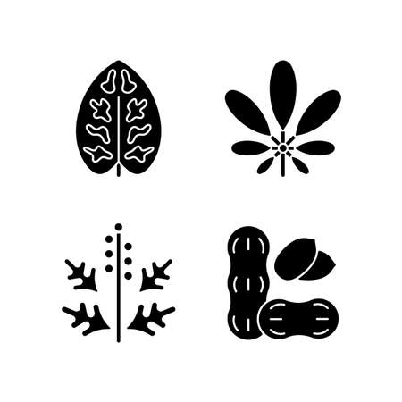 Reason for allergy black glyph icons set on white space. Dieffenbachia, schefflera. Ragweed pollen. Allergen from peanuts. Cause of allergic reaction.Silhouette symbols. Vector isolated illustration
