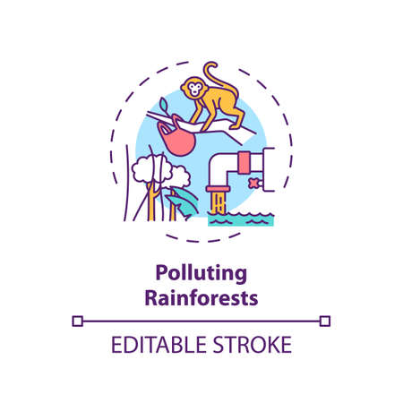 Polluting rainforests concept icon. Green tourism challenges. People decreasing amount of trees on planet idea thin line illustration. Vector isolated outline RGB color drawing. Editable stroke