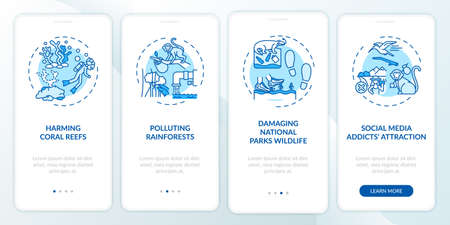 Green tourism challenges onboarding mobile app page screen with concepts. Polluting rainforests walkthrough 4 steps graphic instructions. UI, UX, GUI vector template with linear color illustrations