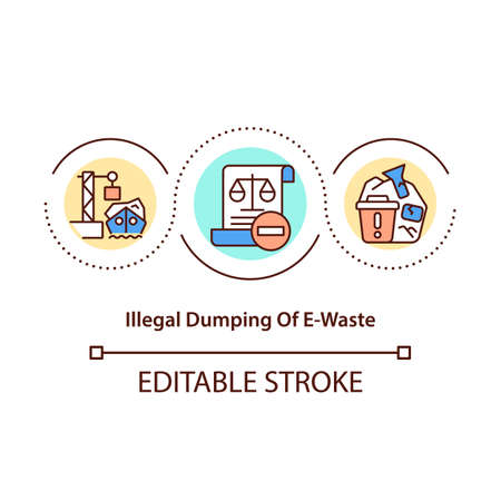 Illegal e-waste dumping concept icon. E-garbage throwing out illegally idea thin line illustration. Processing in dangerous conditions. Vector isolated outline RGB color drawing. Editable stroke Vektoros illusztráció