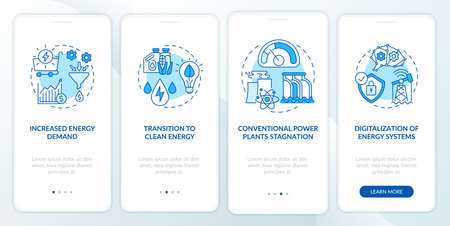 Energetics trends onboarding mobile app page screen with concepts. Increased energy demand walkthrough 4 steps graphic instructions. UI, UX, GUI vector template with linear color illustrations Vector Illustration