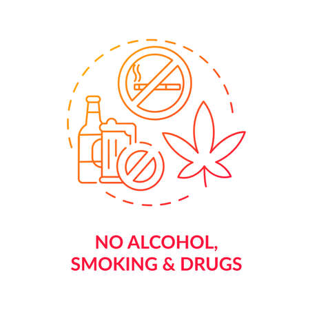No alcohol, smoking and drugs concept icon. Liver health requirement idea thin line illustration. Abstinence positive effects. Organ systems damage in body. Vector isolated outline RGB color drawing
